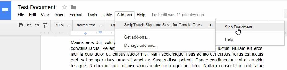 Step5: Cursor over Sign Document in menus