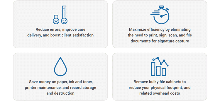 • Reduce errors, improve care delivery, and boost client satisfaction. • Maximize efficiency by eliminating the need to print, sign, scan, and file documents for signature capture. • Save money on paper, ink and toner, printer maintenance, and record storage and destruction. • Remove bulky file cabinets to reduce your physical footprint, and related overhead costs.